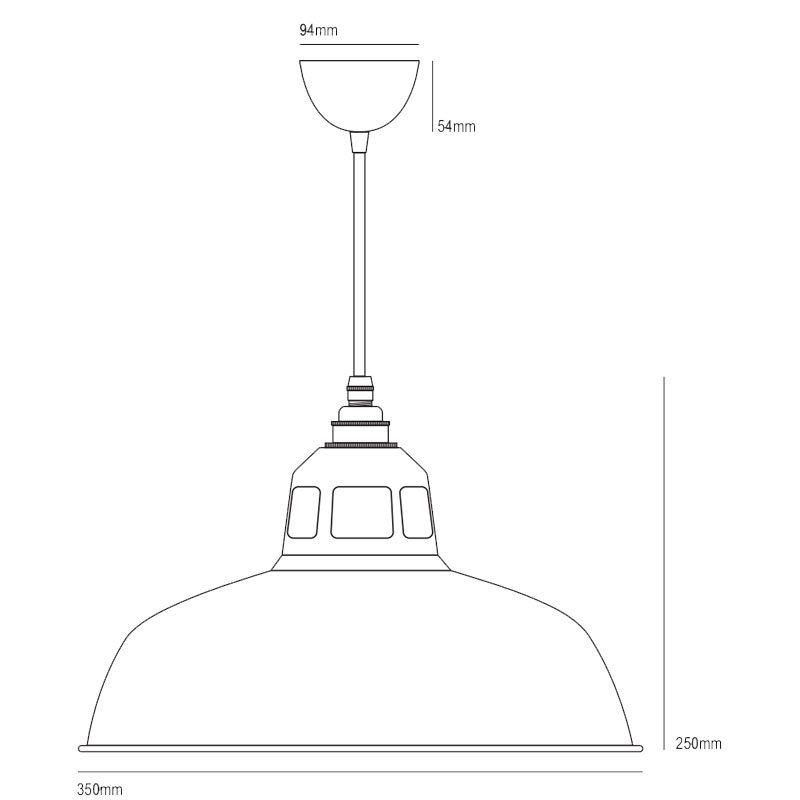 Davey Lighting Aluminium Punch Pendant Light Line Drawing