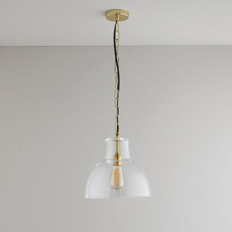 Davey Lighting Glass York 2 Pendant Light Clear Brass Off