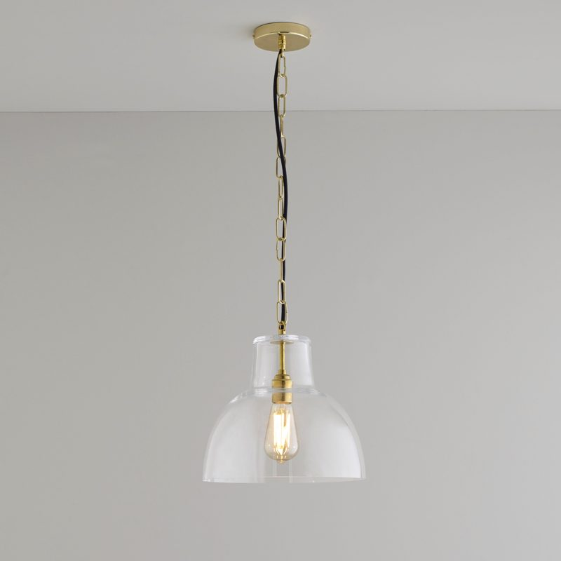 Davey Lighting Glass York 2 Pendant Light Clear Brass On
