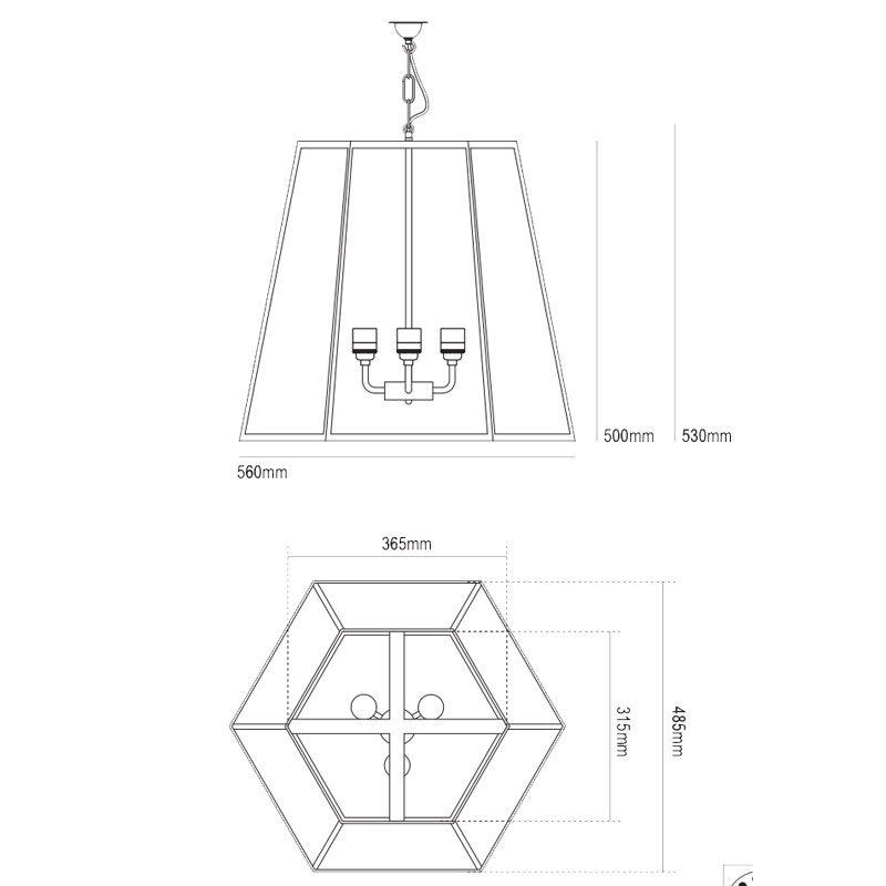 Davey Lighting Hex Xl Pendant Light Line Drawing
