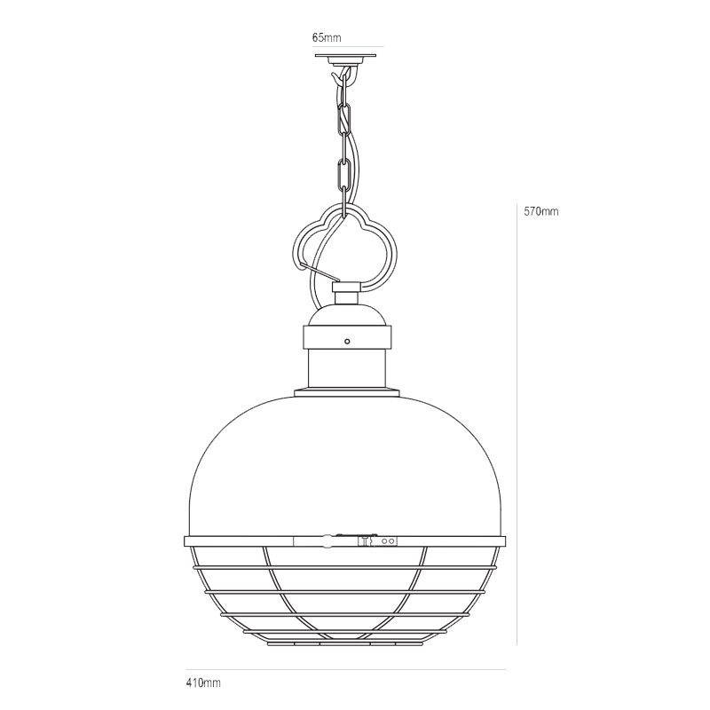 Davey Lighting Oceanic Large Pendant Light Line Drawing