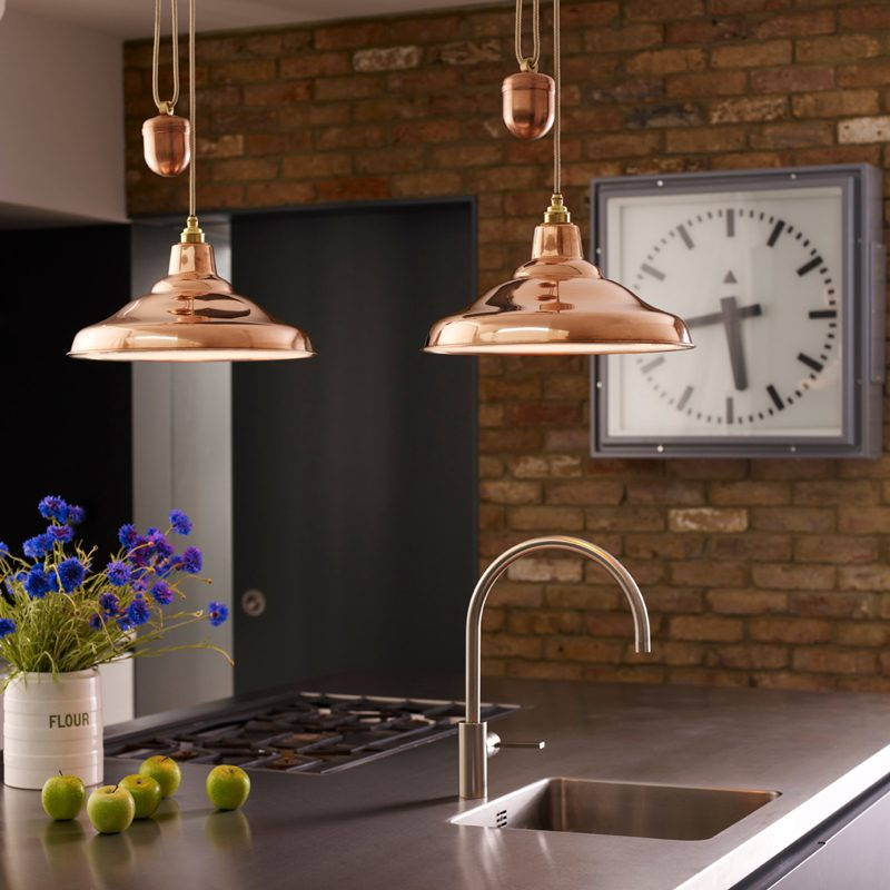 Davey Lighting School Rise & Fall Pendant Light Polished Copper B