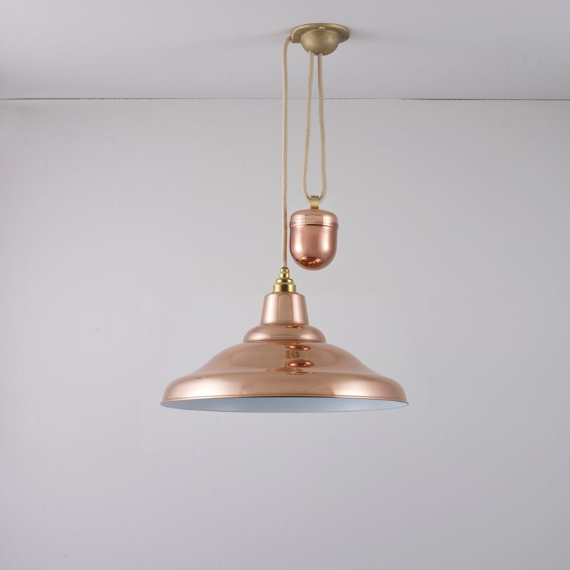 Davey Lighting School Rise & Fall Pendant Light Polished Copper C