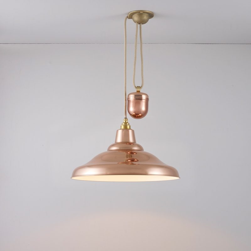 Davey Lighting School Rise & Fall Pendant Light Polished Copper D