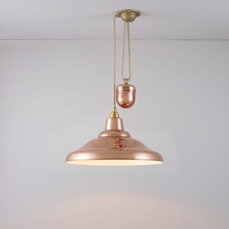 Davey Lighting School Rise & Fall Pendant Light Polished Copper D