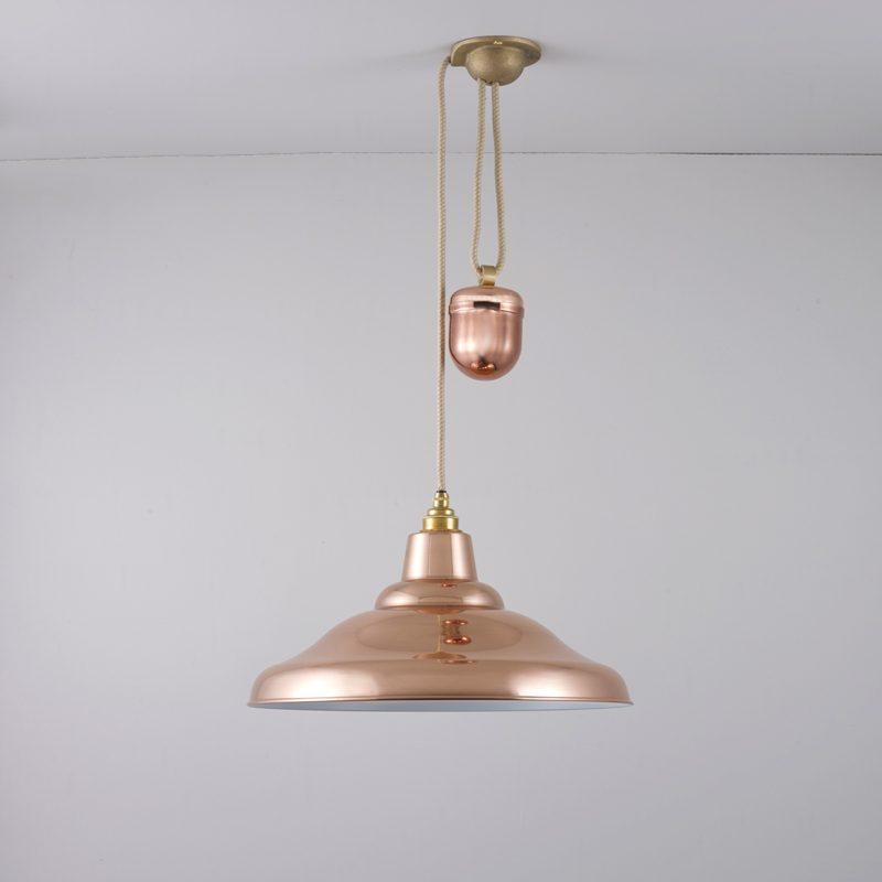 Davey Lighting School Rise & Fall Pendant Light Polished Copper E