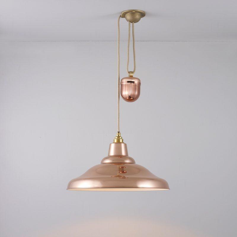 Davey Lighting School Rise & Fall Pendant Light Polished Copper