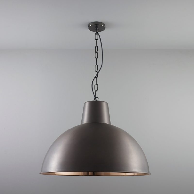Davey Lighting Spun Reflector Large Pendant Light Weathered Copper Off