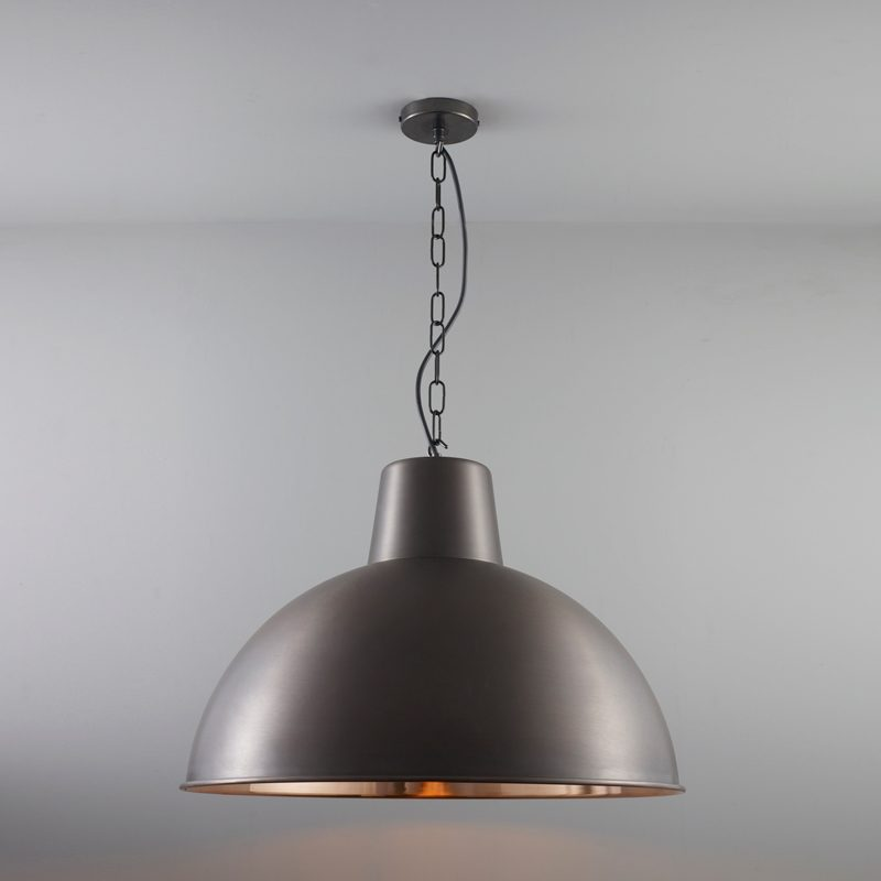 Davey Lighting Spun Reflector Large Pendant Light Weathered Copper