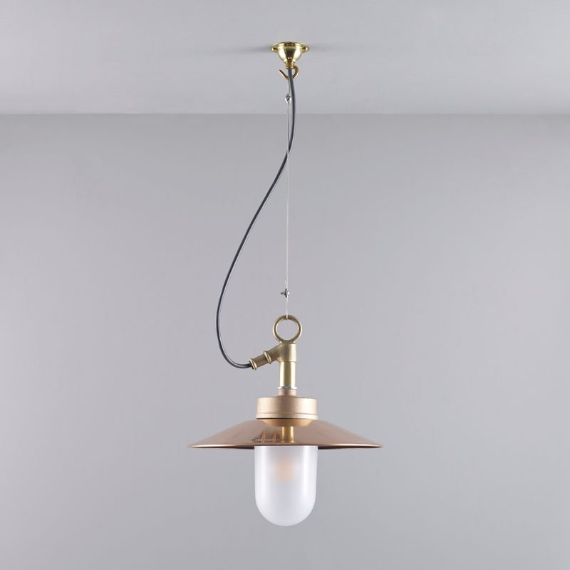 Davey Lighting Well Glass With Visor Ip Pendant Light Copper Frosted Glass B