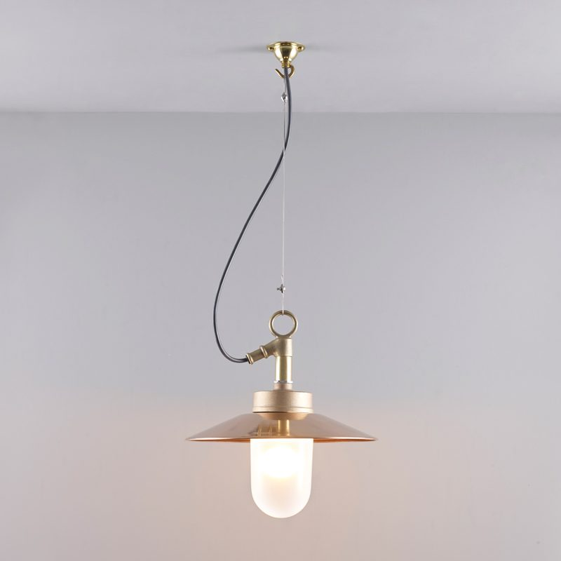 Davey Lighting Well Glass With Visor Ip Pendant Light Copper Frosted Glass