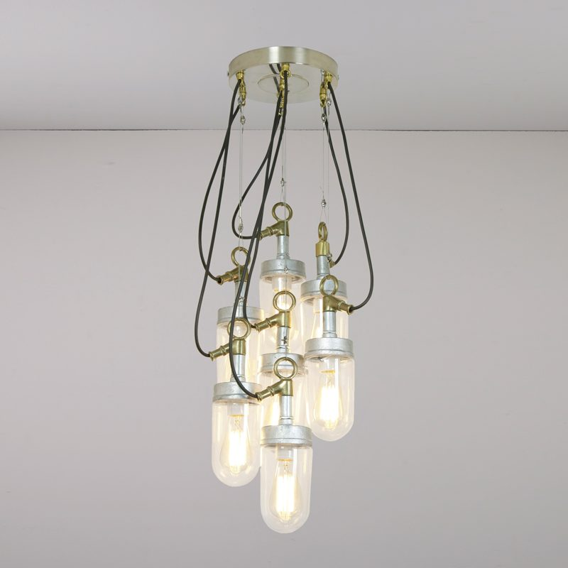 Davey Lighting Well Glass 7 Grouping Pendant Light