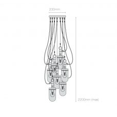 Davey Lighting Well Glass 7 Grouping Pendant Light Line Drawing