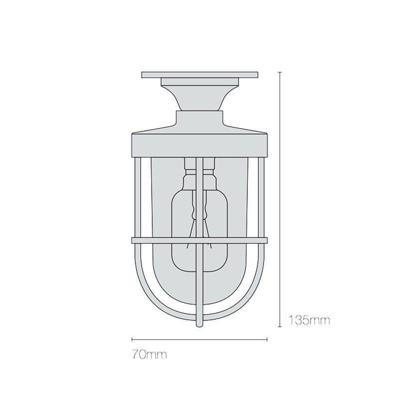 Davey Lighting Miniature Ship's Well Glass 7204 Ceiling Light Line Drawing