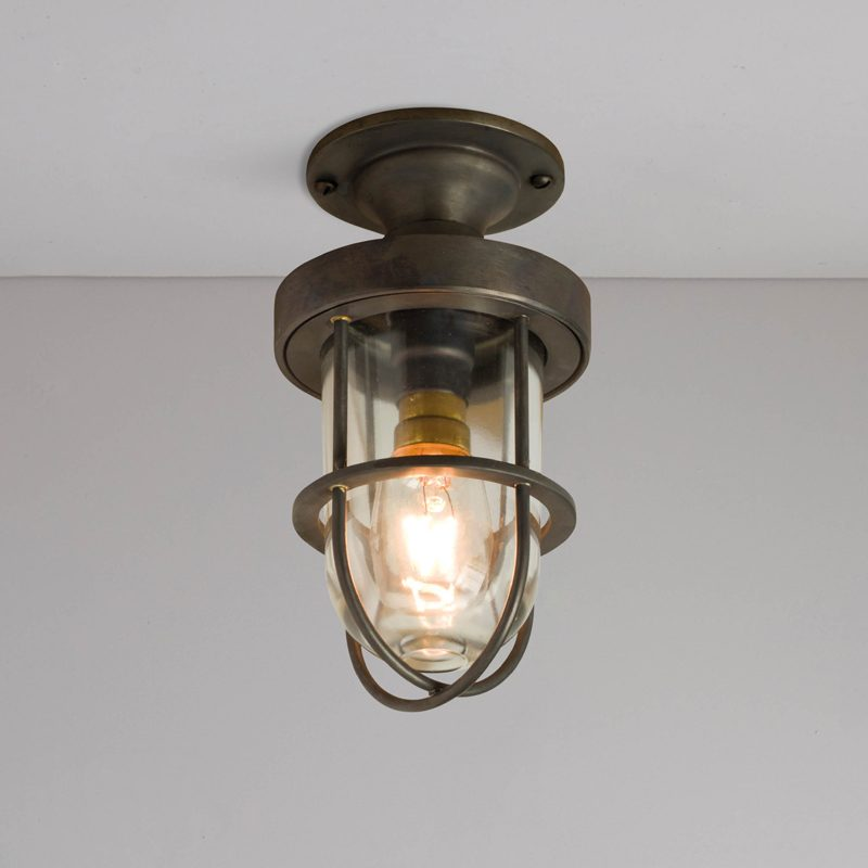 Davey Lighting Miniature Ship's Well Glass 7204 Ceiling Light Weathered Brass Clear Glass