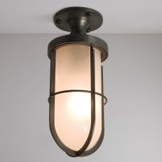 Davey Lighting Ship's Well Glass 7204 Ceiling Light Weathered Brass Frosted Glass