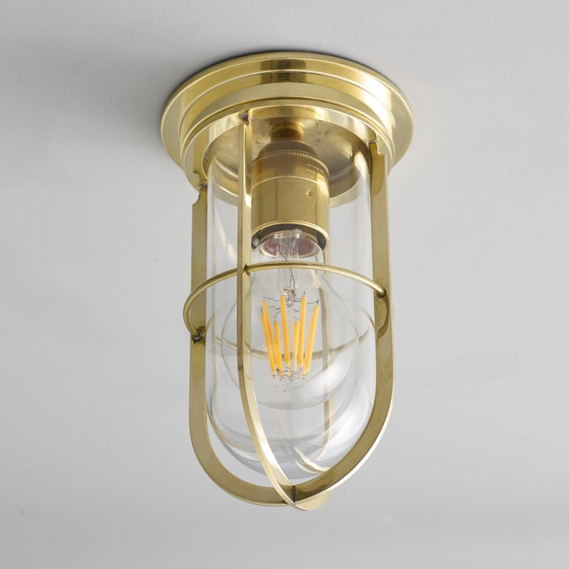 Davey Lighting Ship's Companionway 7203 Ceiling Light Polished Brass Clear Glass