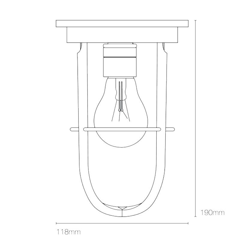 Davey Lighting Ship's Companionway 7203 Ceiling Light Line Drawing