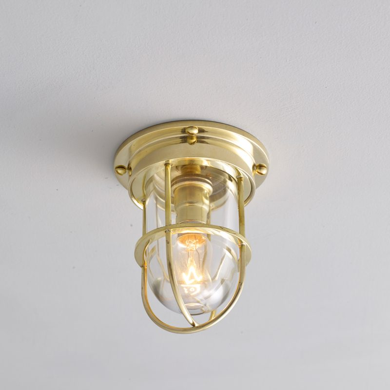 Davey Lighting Miniature Ship's Companionway 7203 Ceiling Light Polished Brass Clear Glass On