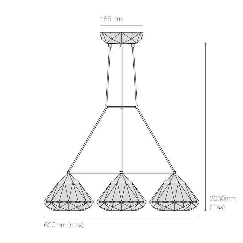Original Btc Hatton 1 Grouping Of 3 Triangular Pendant Light Line Drawing