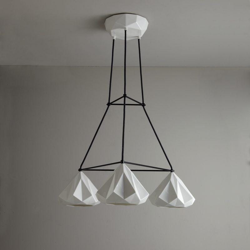 Original Btc Hatton 1 Grouping Of 3 Triangular Pendant Light Off