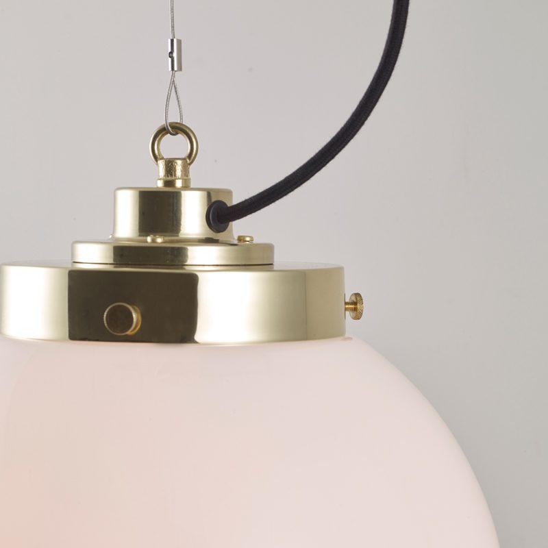 Original Btc Globe Small Pendant Light Opal Glass Brass On B