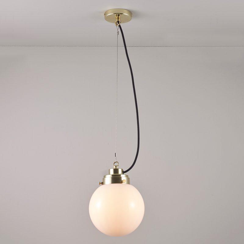 Original Btc Globe Small Pendant Light Opal Glass Brass On