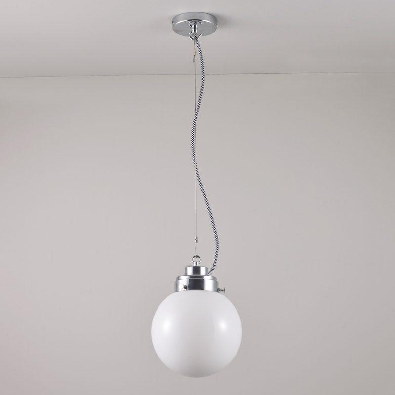 Original Btc Globe Small Pendant Light Opal Glass Chrome Off