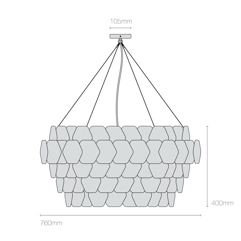 Original Btc Cranton Hexagonal Pendant Light Line Drawing