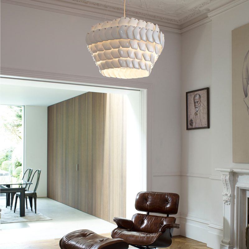 Original Btc Cranton Hexagonal Pendant Light White On B