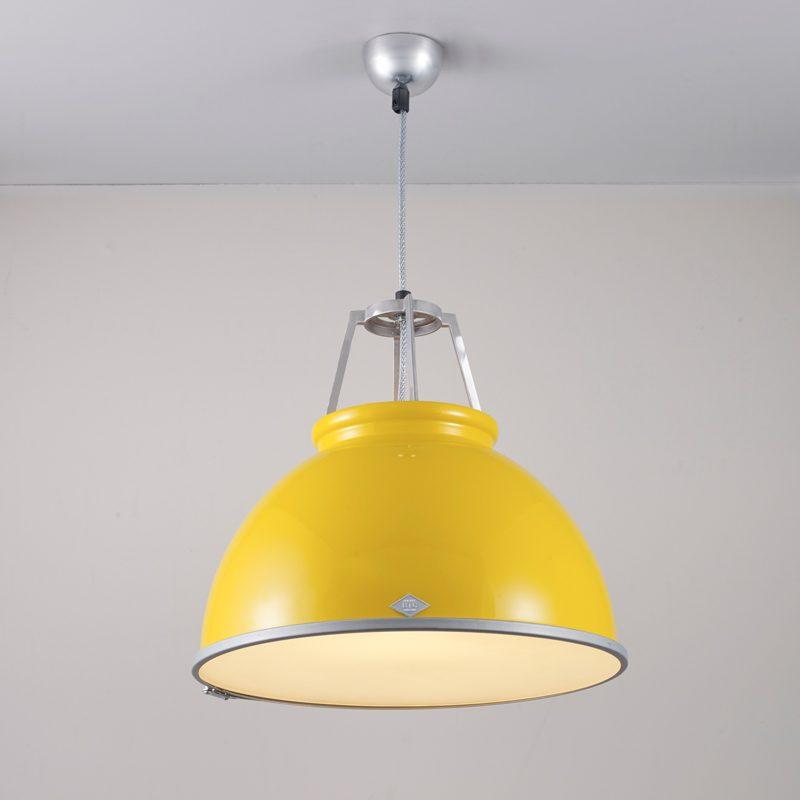Original Btc Titan 3 Etched Glass Pendant Light Yellow White On