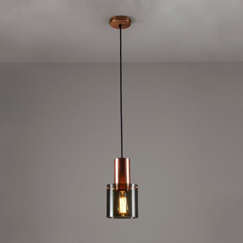 Original Btc Walter 1 Pendant Light Anthracite Glass Copper