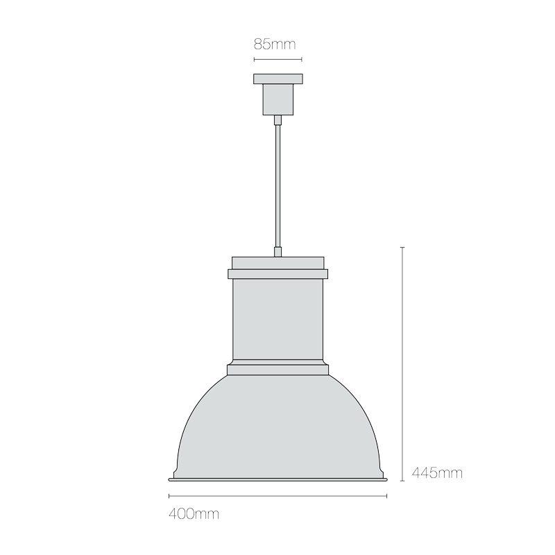 Original Btc Time 3 Pendant Light Aluminium Line Drawing