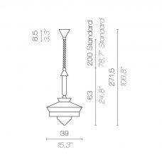 Contardi Calypso Martinique Outdoor Pendant Light Line Drawing