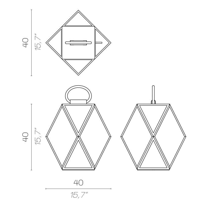 Contardi Muse Medium Lantern Table Lamp Line Drawing