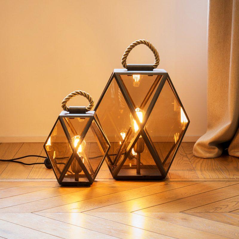 Contardi Muse Small Lantern Table Lamp Bronze E