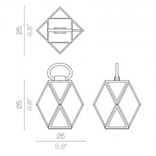 Contardi Muse Small Lantern Table Lamp Line Drawing