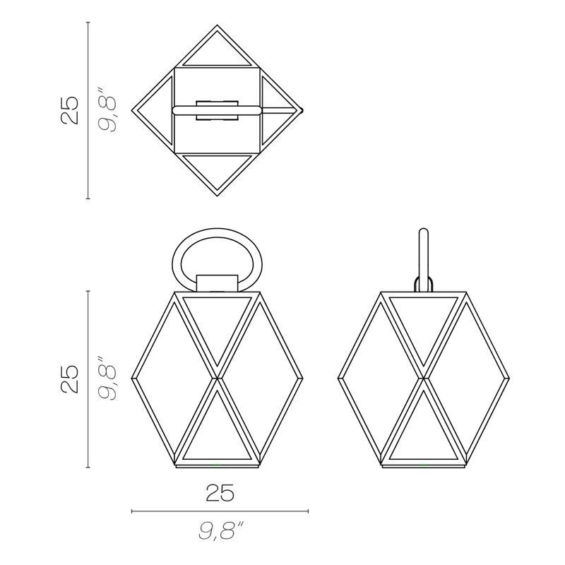 Contardi Muse Small Lantern Table Lamp Line Drawing
