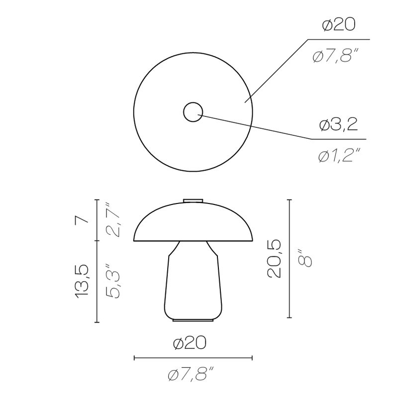 Contardi Ongo Battery Table Lamp Line Drawing
