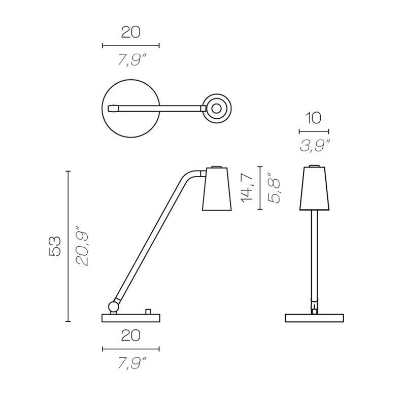 Contardi Up Desk Lamp Line Drawing