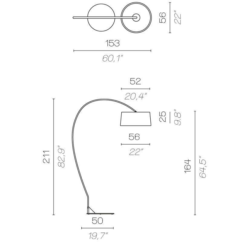 Contardi Divina Arco Floor Lamp Line Drawing