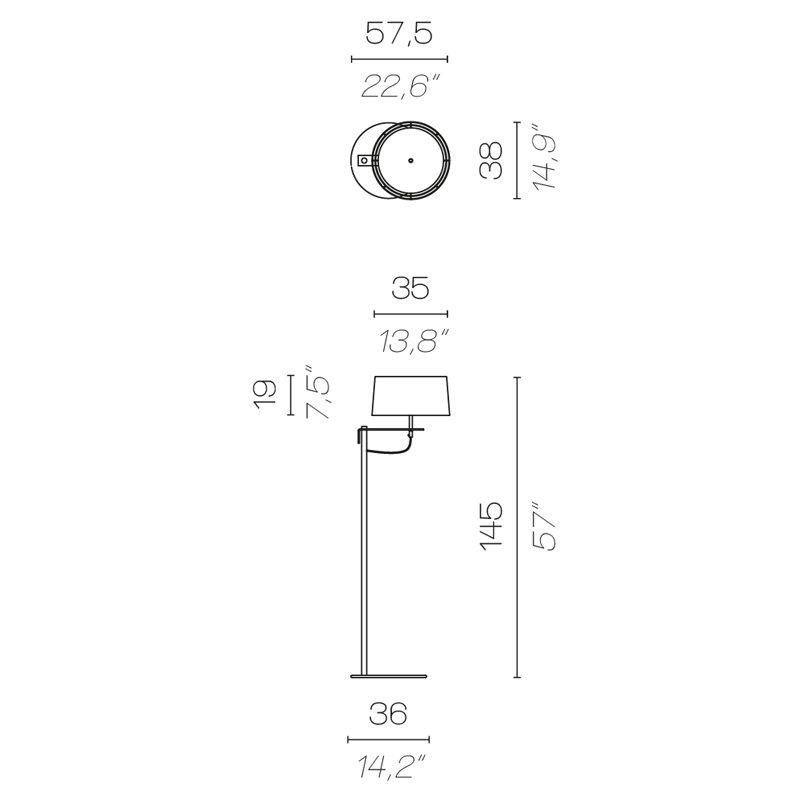 Contardi Divina Medium Floor Lamp Line Drawing