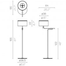 Contardi Josephine Liseuse Floor Lamp Line Drawing