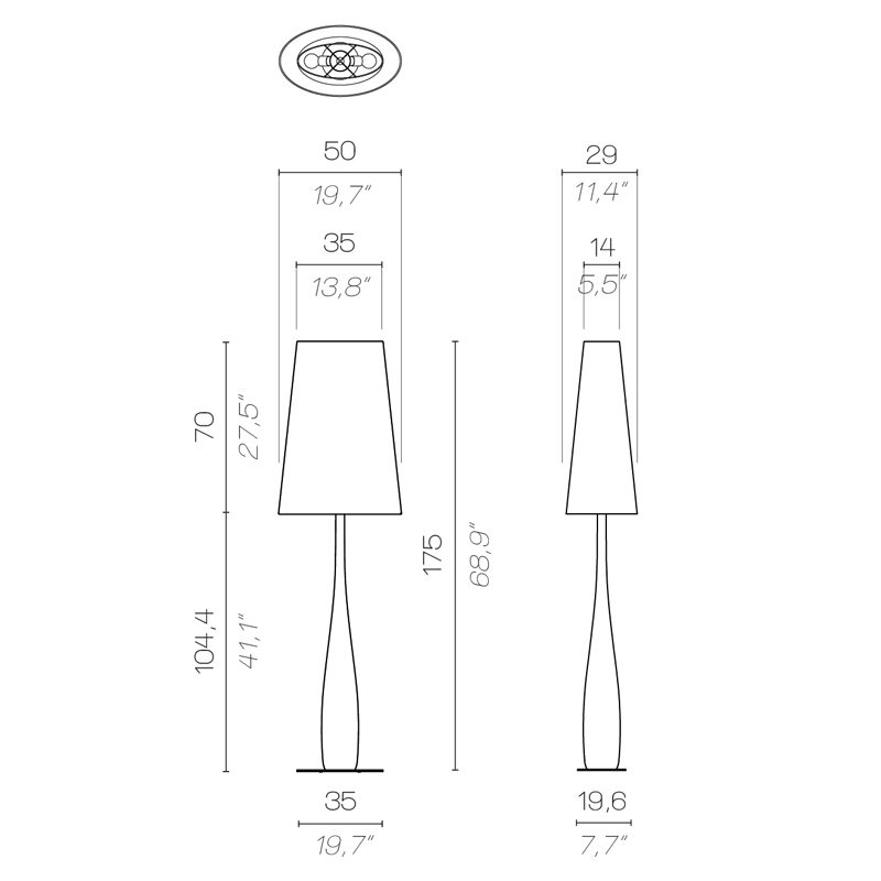 Contardi M.me Butterfly Floor Lamp Line Drawing