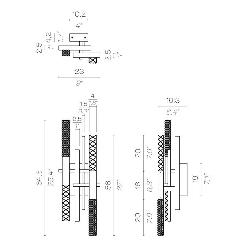 Contardi Mikado Wall Light Line Drawing