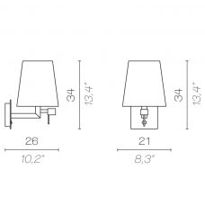 Contardi Quadra Led Wall Light Line Drawing
