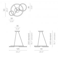 Contardi Eclisse Pendant Light Line Drawing