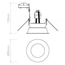 Astro Minima Round Fixed Downlight Line Drawing