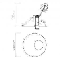 Astro Minima Round 25° Downlight Line Drawing