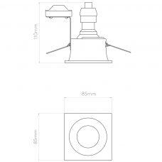 Astro Minima Square Ip65 Downlight Line Drawing